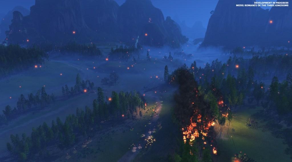Night battle. The lanterns and fires illuminate the scene.
