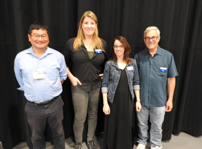 Universal GameDev contest judges (left to right): Dean Takahashi, Kate Edwards, xxx, and Bob Gale.