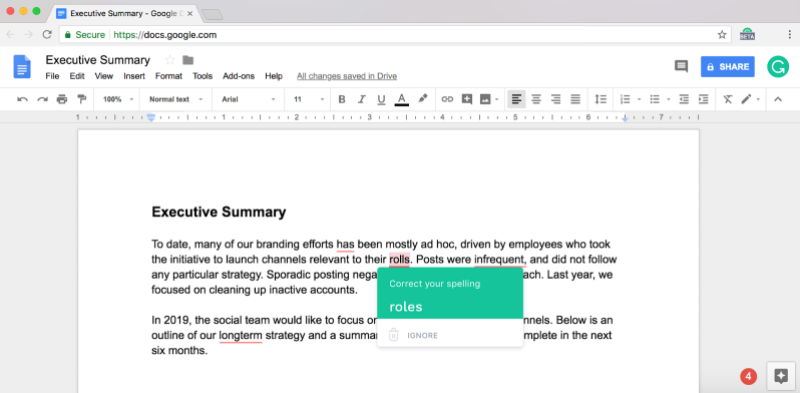 Grammarly Google Docs