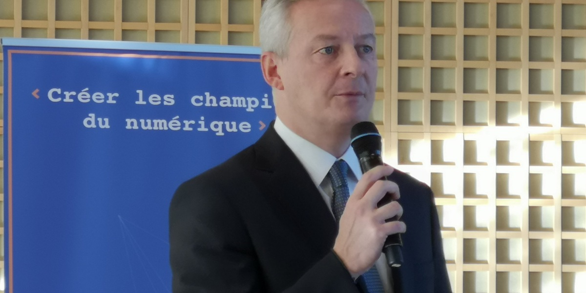Bruno Le Maire, France's Minister of the Economy and Finance, speaking at a breakfast for France Digitale.