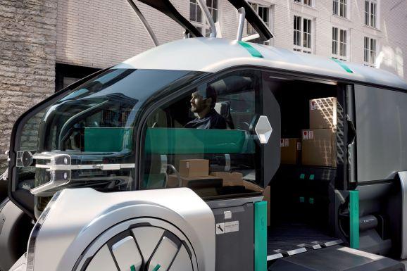 EZ-Go is Renault's autonomous delivery concept featuring shared customizable robo-pods.