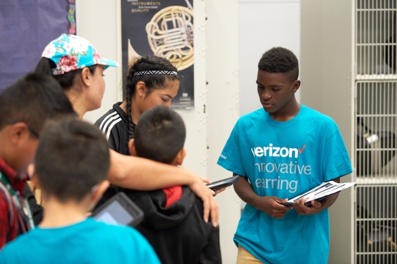 Students participate in the Verizon Innovative Learning program at Crockett Middle School on October 6, 2017 in Irving, Texas.