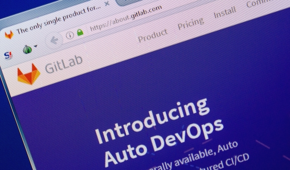 Homepage of GitLab website on the display of a PC