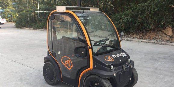 PerceptIn DragonFly Pod autonomous vehicle resembles a golf cart