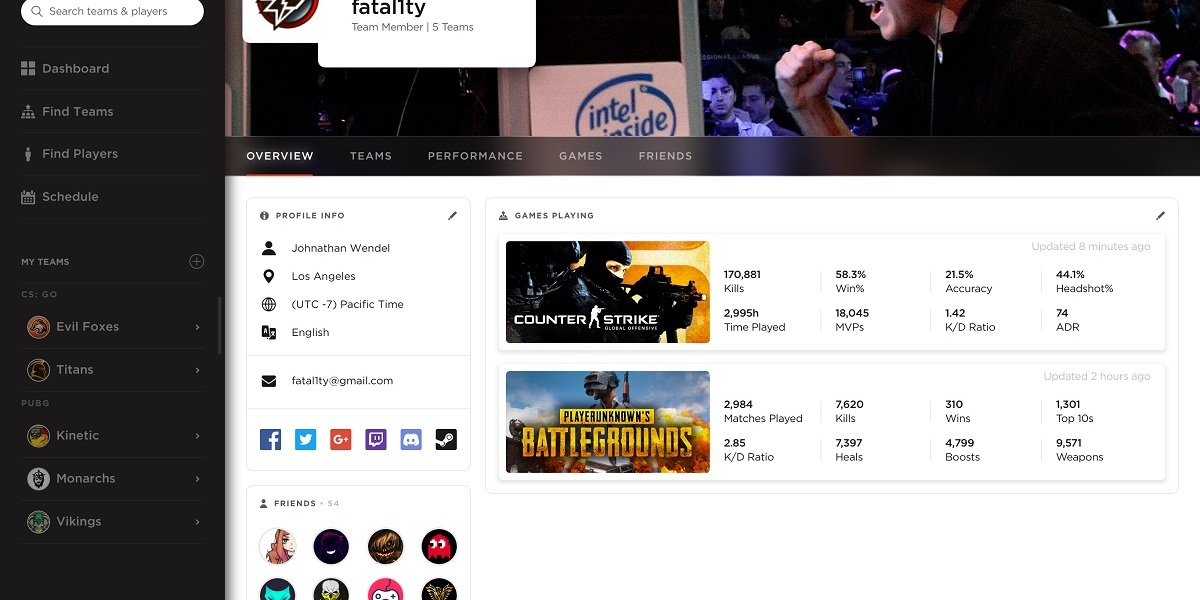 """ReadyUp profile page for Johnathan """"Fatal1ty"""" Wendel."""