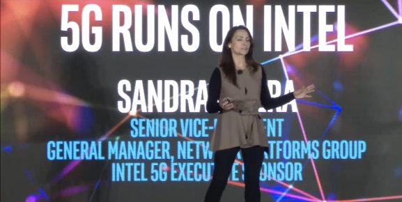 Intel SVP Sandra Rivera speaks at the Intel 5G Summit in Los Angeles, CA.