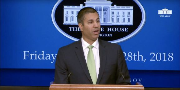 FCC Chairman Ajit Pai speaks at the White House's 5G Summit on September 28, 2018.