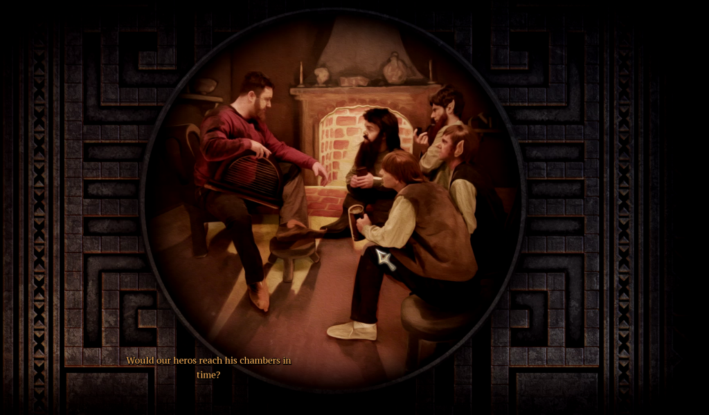 The Bard introduces different scenes depending on where you are in the story.