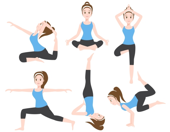 yoga character 6 set , traditional normal style , women exercise vector