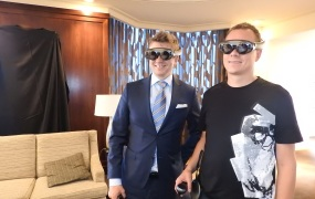 Tommy Palm, CEO of Resolution Games, and Sami Ronkainen, Rovio creative director, show off the Magic Leap One Creator Edition.