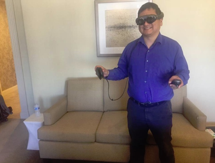 Dean Takahashi shows off the Magic Leap One Creator Edition augmented reality goggles.
