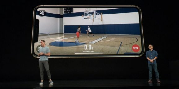 A demonstration of HomeCourt, an AR recording app for basketball player development, at Apple's September 2018 special event.