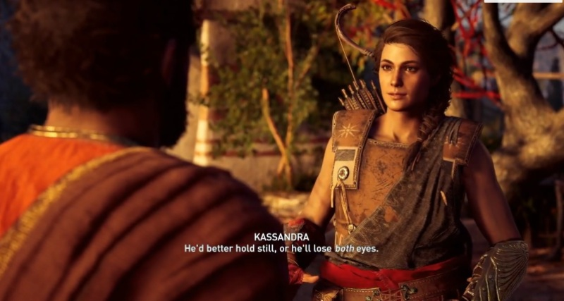 Kassandra talks with Markos.
