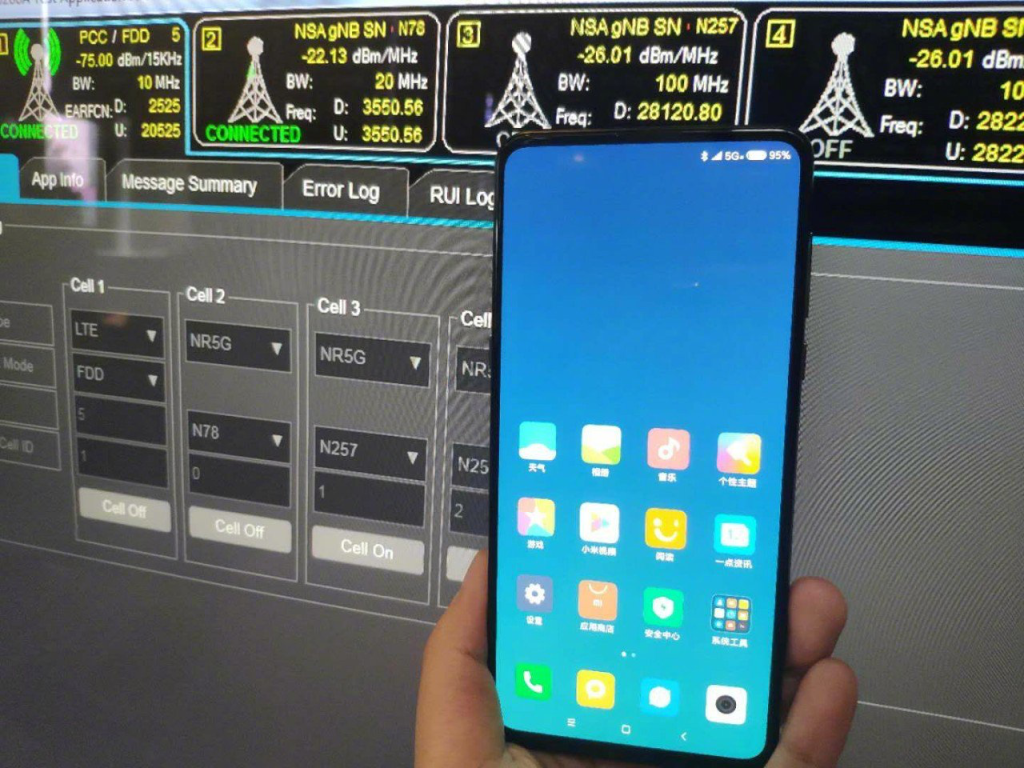 Xiaomi's Mi Mix 3 is shown with a 5G signal on the screen and dual-band support.