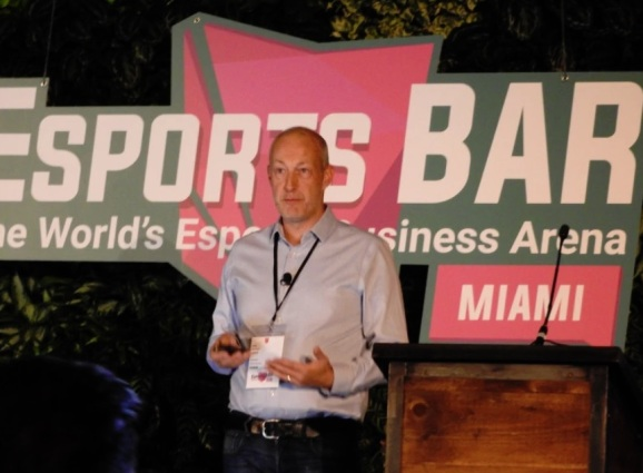 Peter Warman speaks at the Esports BAR Miami event.