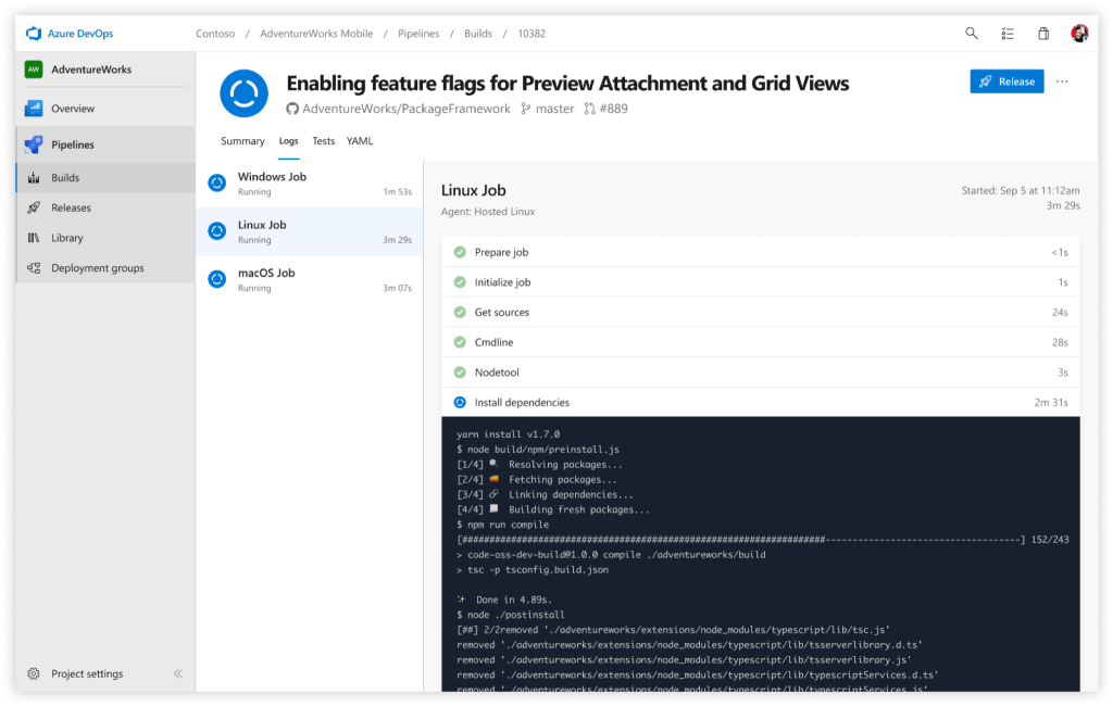 Screenshot of Azure Pipelines used independently to build a GitHub repo
