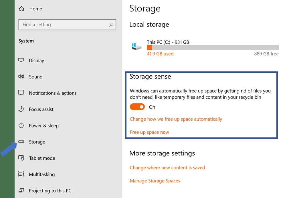 A screenshot of Windows 10's Storage Sense feature
