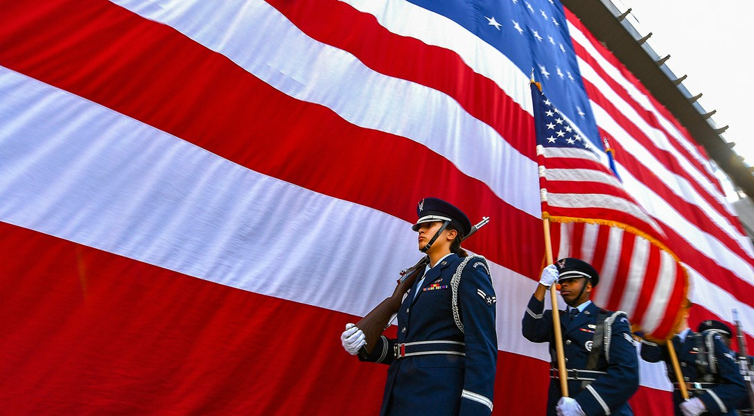 The High Frontier Honor Guard performs during the 50th Network Operations Group change of command ceremony at Schriever Air Force Base, Colorado, June 29, 2018. During the ceremony, Col. Hewett Wells assumed command of the group from outgoing commander, Col. W. Scott Angerman.