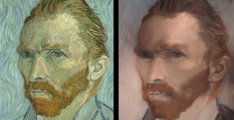 Style reversion, a neural net style transfer technique developed by Miguel Perez Michaus using fast