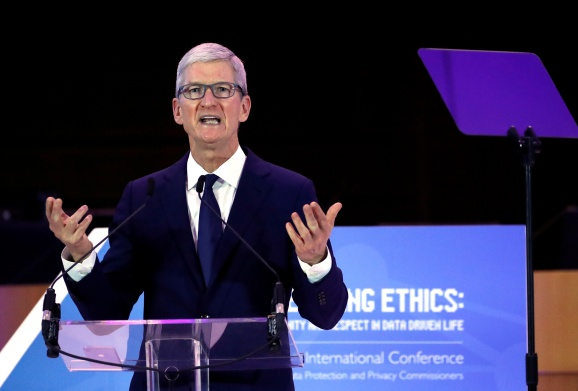 Apple CEO Tim Cook delivers a keynote during the European Union's privacy conference at the EU Parliament in Brussels, Belgium October 24, 2018.