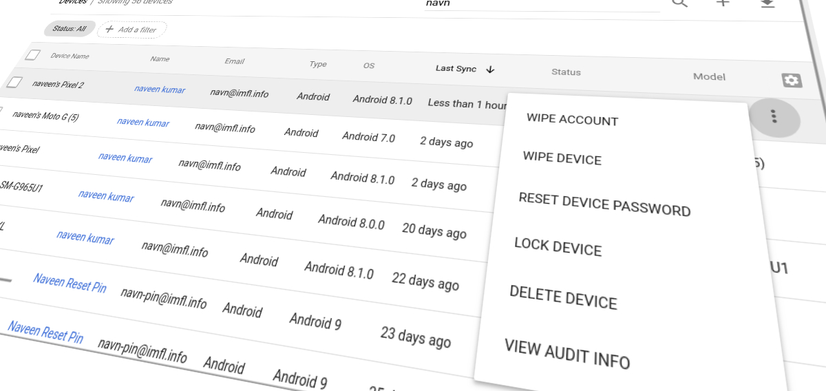 G Suite: Lock device or reset device password