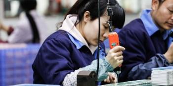 JIUJIANG CHINA-March 17, 2018: workers on the production line of electrical appliances company, Jiujiang, Eastern China.