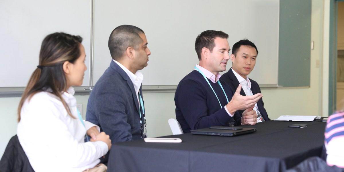 Morgan Lai, Investor, Foundation Capital; Pavan Arora, Chief AI Officer, Aramark; Jay Allardyce, Head of Corporate Development & Partnerships, Uptake; Peter Chiang, VP of Global Digital Strategy and Transformation, MetLife at VB Summit 2018