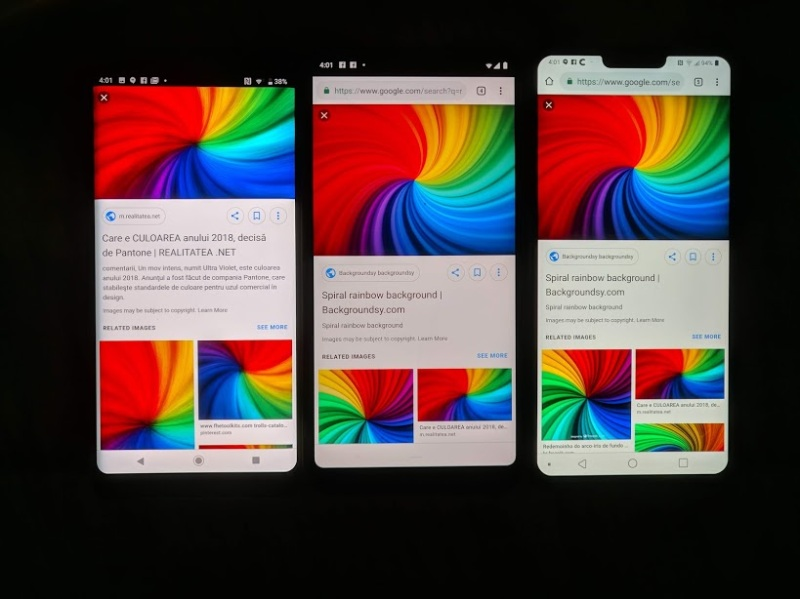 From left to right: Sony Xperia XZ3, Pixel 3 XL, LG V40. All on default settings.