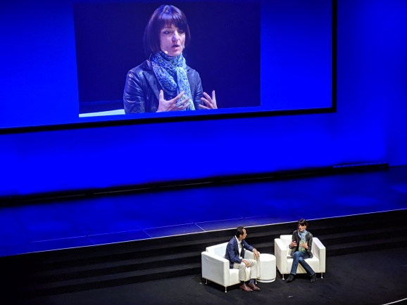 Former Building 8 founder, Google executive, and DARPA director Regina Dugan speaks with ___ ____ at the Samsung CEO Summit held Oct. 13, 2018 at the