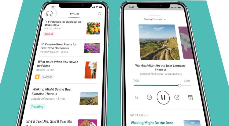 Pocket's new listen feature on an iPhone X