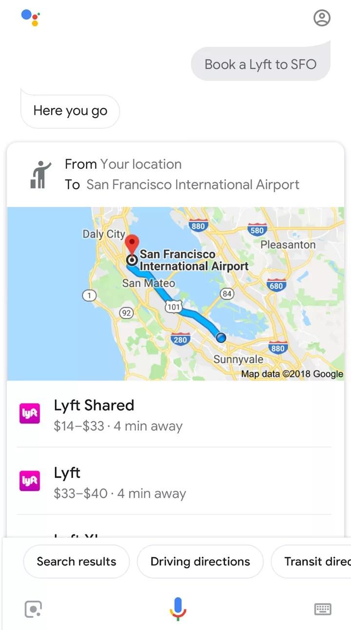 Google Assistant ridesharing
