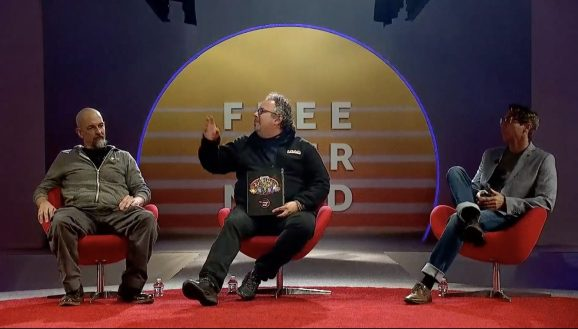 Magic Leap's CEO Rony Abovitz, John Gaeta, Magic Leap's head of creative strategy, and Neal Stephenson, Magic Leap's chief futurist on stage at L.E.A.P. on October 10, 2018.