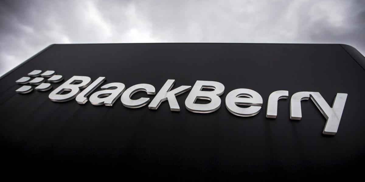A Blackberry sign is seen in front of their offices.