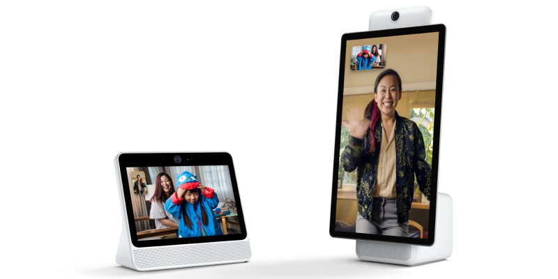 Facebook's 10-inch portal (left) and 15-inch portal + (right)