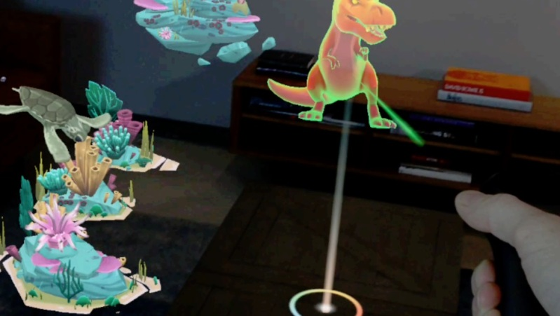 Magic Leap overlays digital animations on the real world via AR glasses.