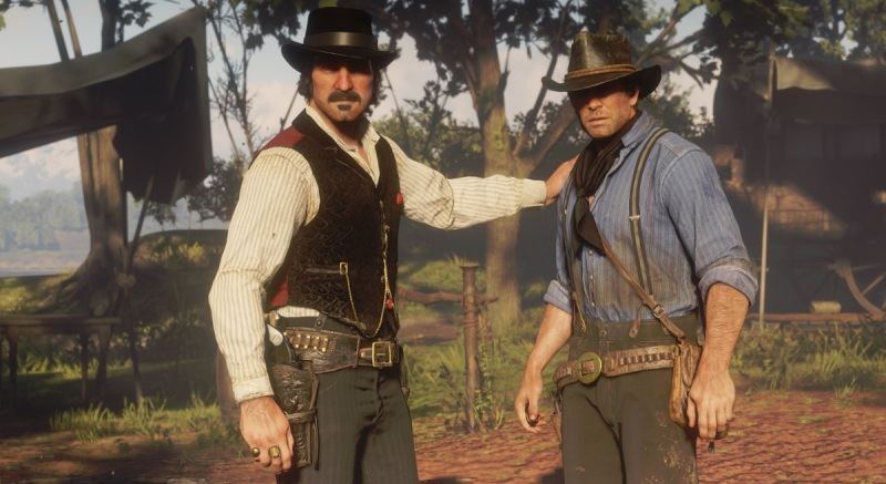 Dutch Van der Linde (left) treats Arthur Morgan like a son.