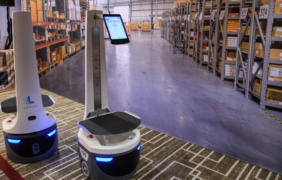 A Locus robot designed to work together with humans in DHL warehouses
