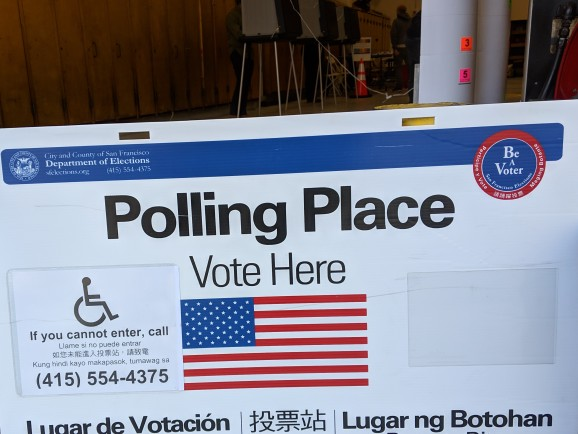 A sign outside of a polling place in San Francisco, California