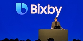 Viv Labs cocreator Adam Cheyer onstage at Samsung Developer Conference held Nov. 7 at the Moscone Center in San Francisco, California