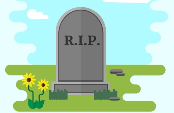 Illustration of gravestone on green grass with flowers.