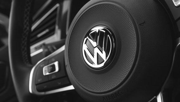 Hamburg, Germany - February 10, 2017: Black steering wheel with logotype of second generation Volkswagen Tiguan, 4x4 R-Line.