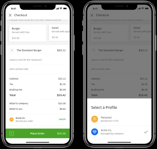 Uber Eats: Personal and Business accounts