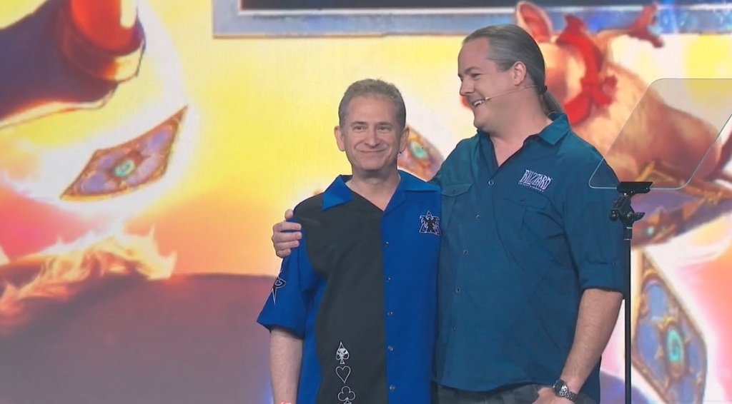 Mike Morhaime (left) and J. Allen Brack at BlizzCon 2018.
