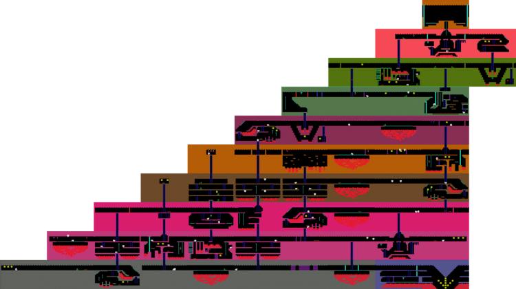 Map of level one on Montezuma's Revenge.