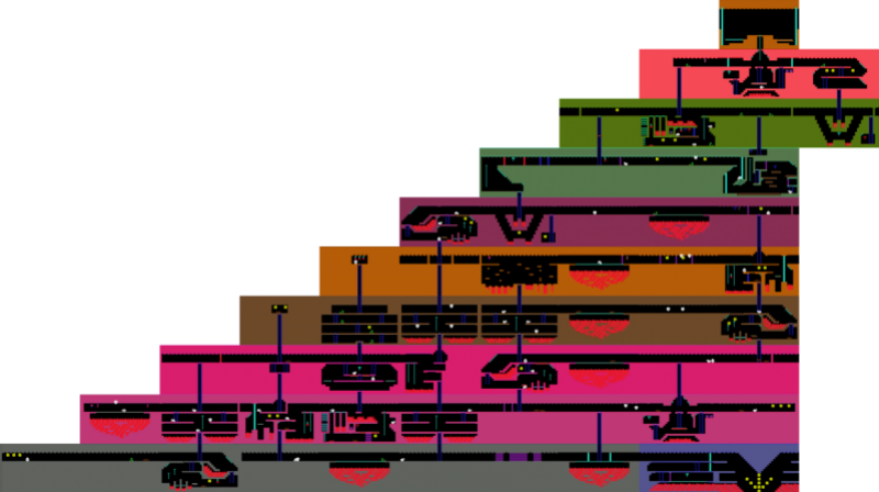 Map of level one on Montezuma's Revenge.