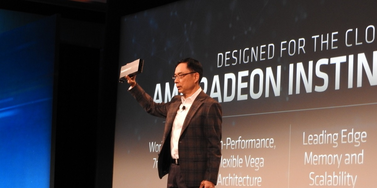 David Wang introduces AMD's first 7-nanometer GPU.