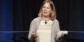 Diane Greene speaks at Google I/O in 2013.