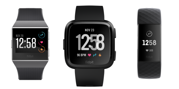 Fitbit's three newest devices: Fitbit Ionic smartwatch, Fitbit Versa smartwatch, and Fitbit Charge 3 smart fitness tracker