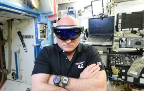 Wearing the HoloLens on the International Space Station.