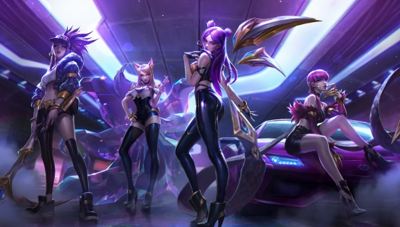 K/DA band (left to right): Akali, Ahri, Kai'Sa, and EvelynnK.